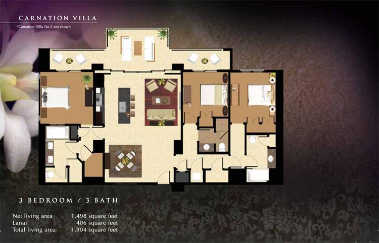 Carnation_Floor_Plan_Ko_Olina_Beach_Villas_1498_sq_ft_3bd_3ba