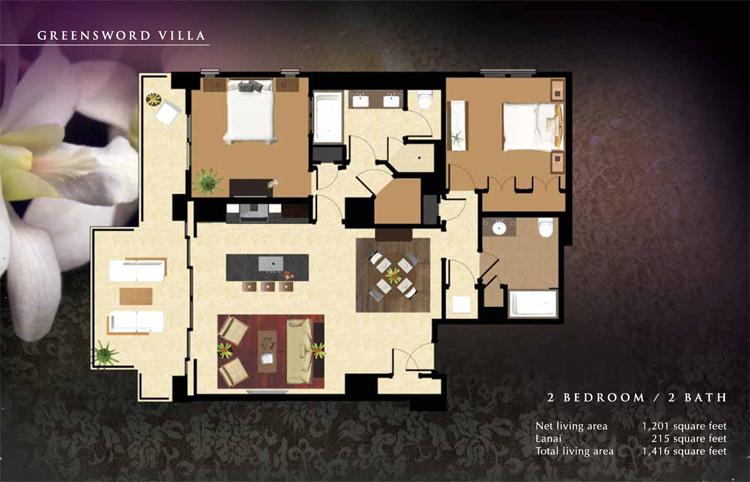 Greensword_Floor_Plan_Ko_Olina_Beach_Villas_1201_sq_ft_2bd_2ba