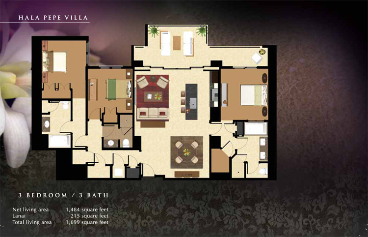 Hala_Pepe_Floor_Plan_Ko_Olina_Beach_Villas_1484_sq_ft_3bd_3ba