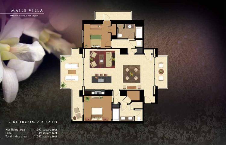 Maile_Floor_Plan_Ko_Olina_Beach_Villas_1293_sq_ft_2bd_2ba