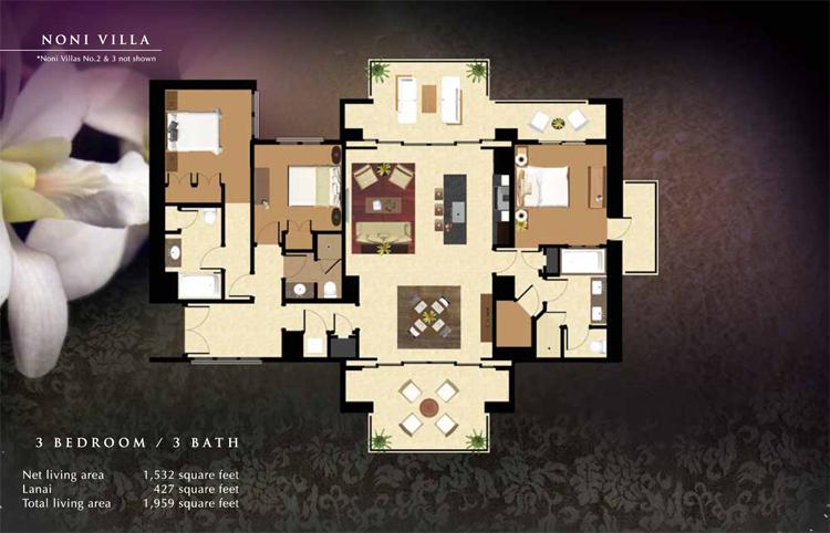 Noni_#1_Floor_Plan_Ko_Olina_Beach_Villas_1532_sq_ft_3bd_3ba