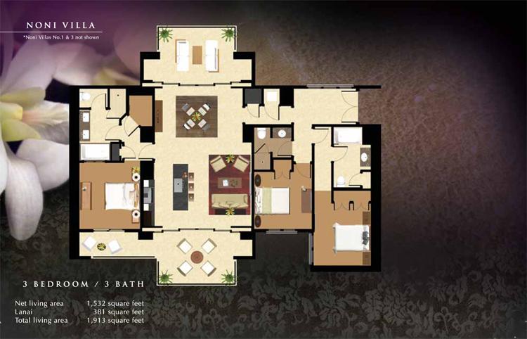 Noni_#2_Floor_Plan_Ko_Olina_Beach_Villas_1532_sq_ft_3bd_3ba