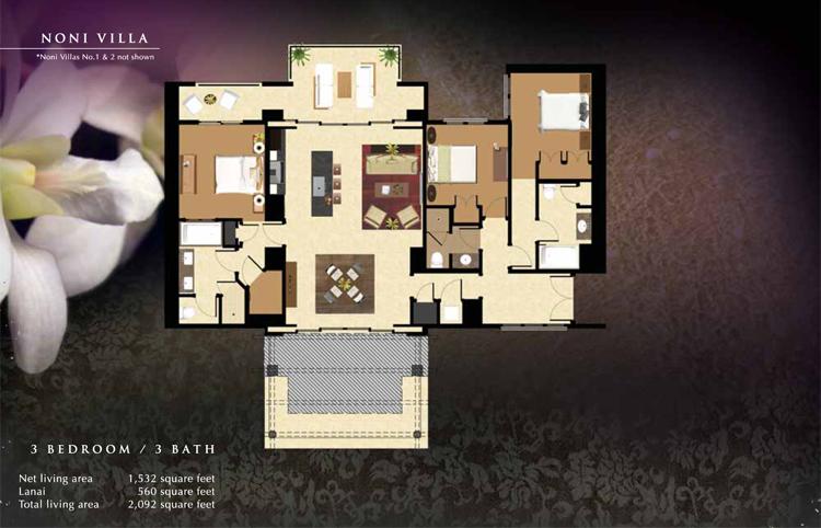 Noni_#3_Floor_Plan_Ko_Olina_Beach_Villas_1532_sq_ft_3bd_3ba