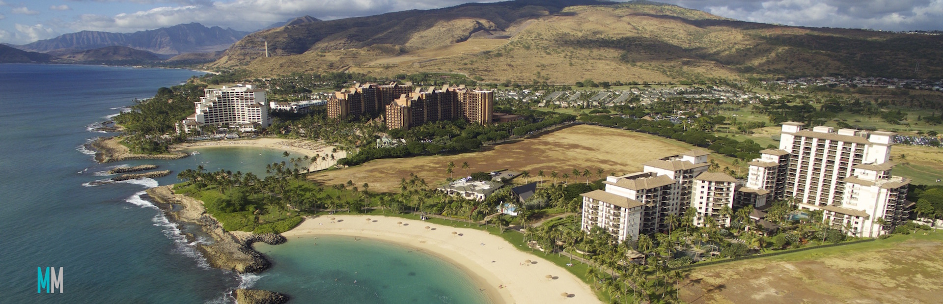 aerial view of lagoons and ko olina resort on west oahu
