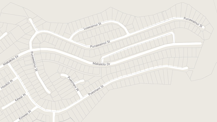 Wai Kalo'i subdivision area and streets comprising 400+ homes.