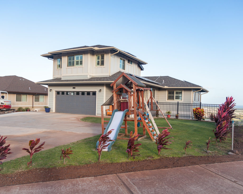 Front of home, lots of parking, playset